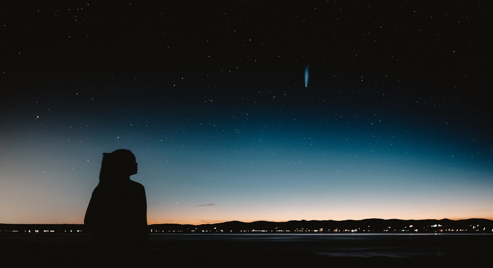 silhouette of man standing near body of water during night time