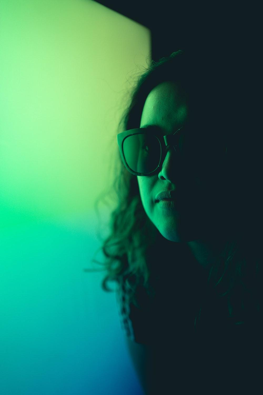 woman wearing black framed eyeglasses