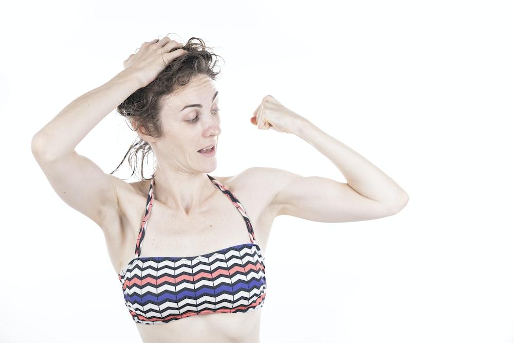 woman in red and white bikini top
