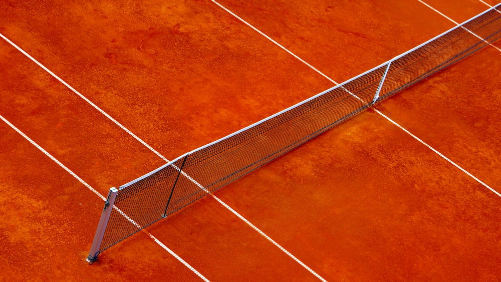 white and brown tennis net