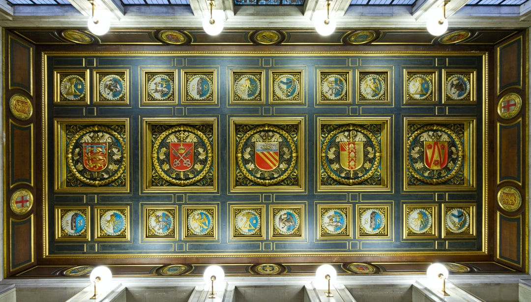 Here is a photograph taken of the coat of arms in the ceiling entrance to Manchester Central Library.  Located in Manchester, Greater Manchester, England.  Website : www.michaeldbeckwith.com   Email : michael@michaeldbeckwith.com