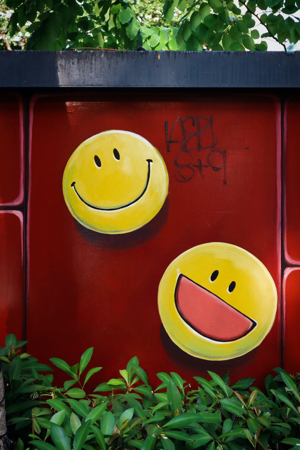 red and yellow smiley face