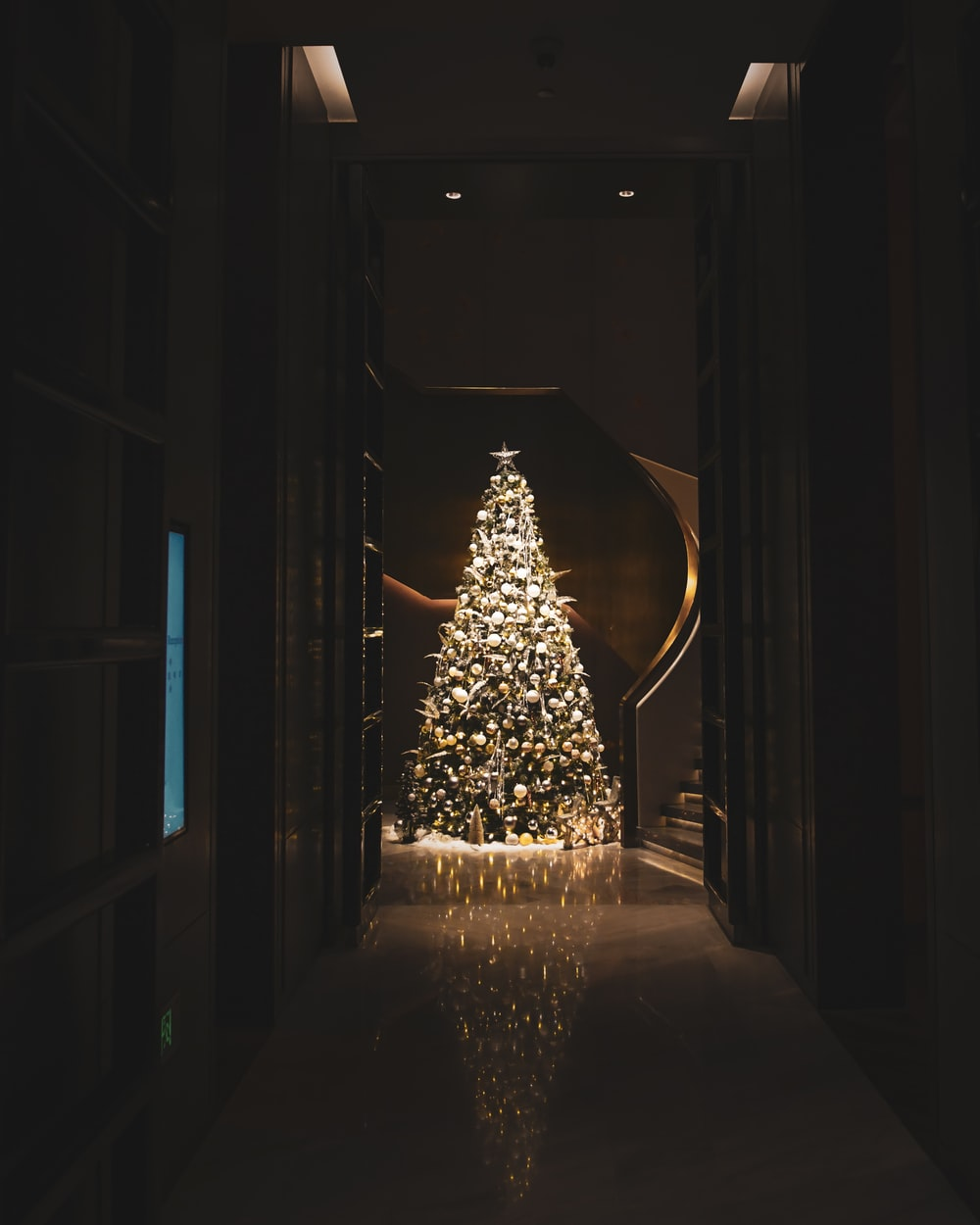 lighted christmas tree in room