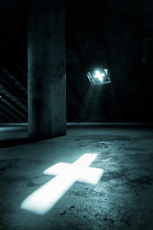 white star light in tunnel