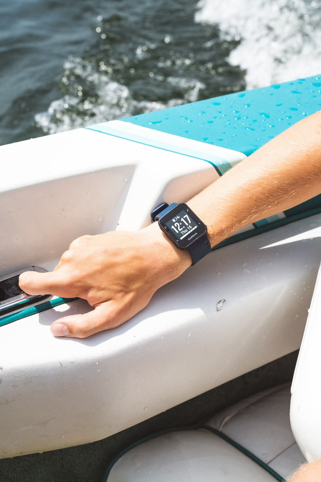 Wrist watch on boat