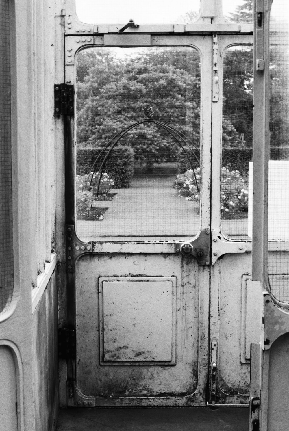 grayscale photo of a train
