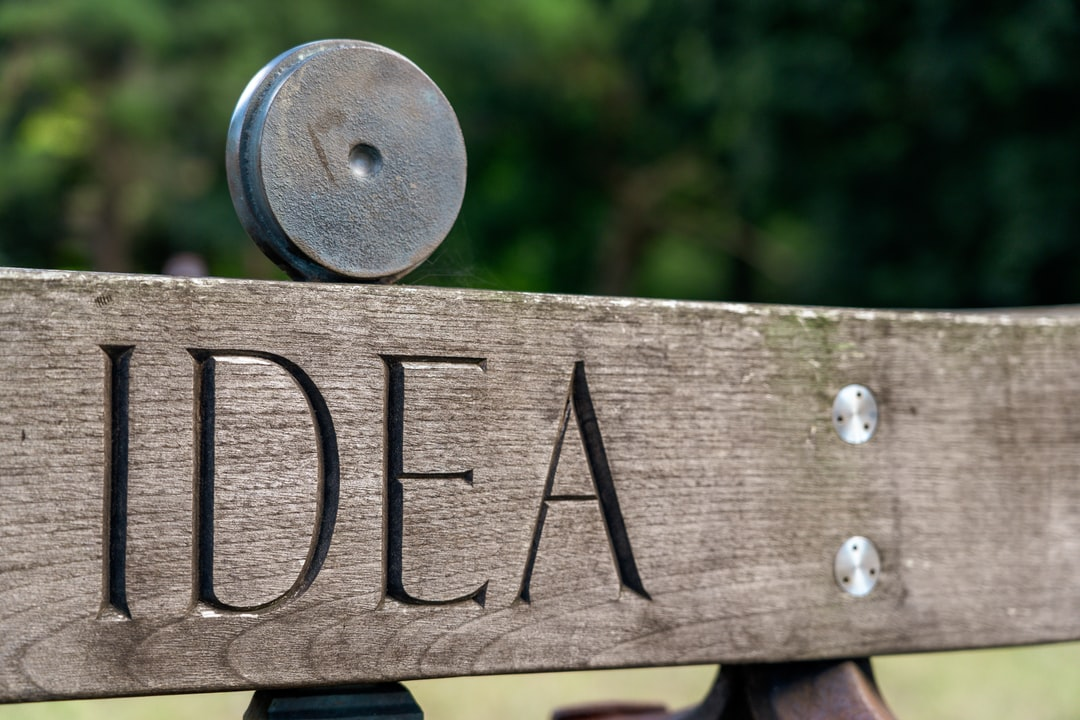 The word idea, carved into a piece of urban art.