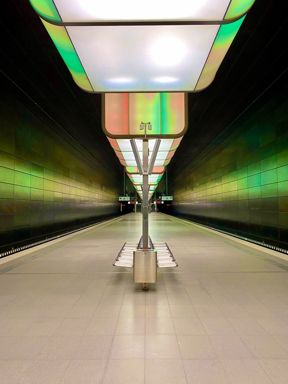 green and white train station