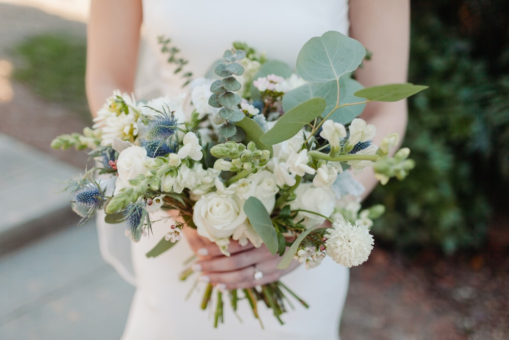 white and green flower bouquet