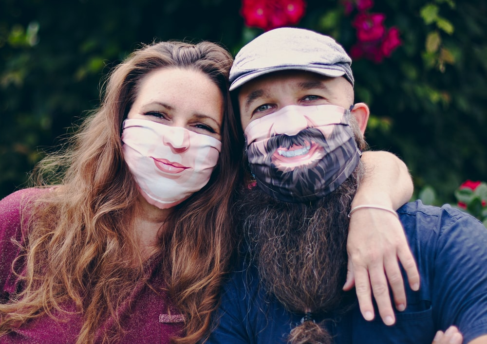 2 people with face mask