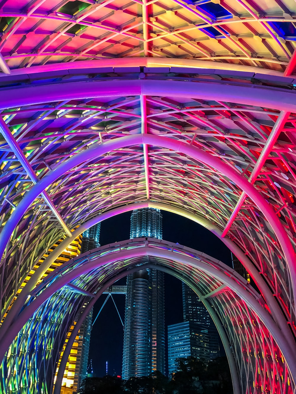 red and blue tunnel with blue and pink lights