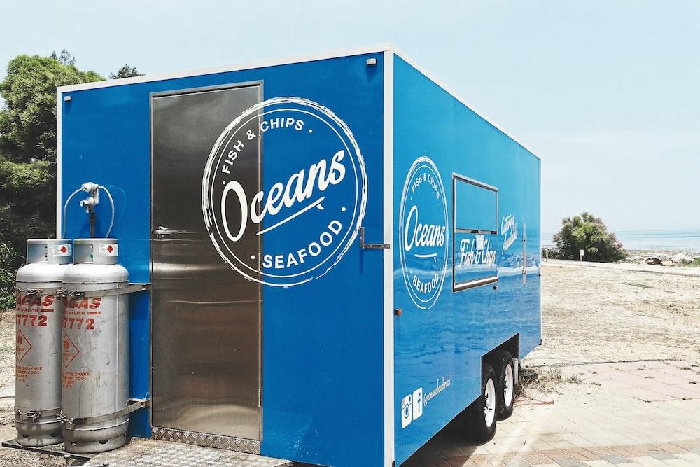 blue and white pepsi cola truck