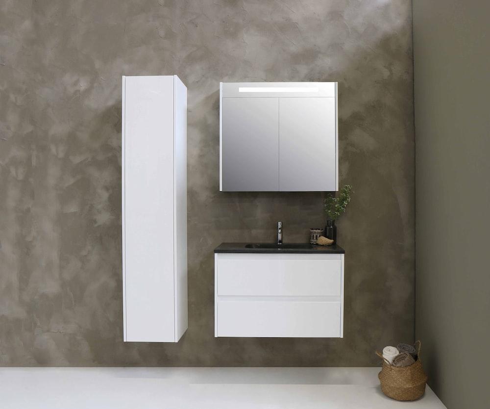 white wall mounted kitchen cabinet