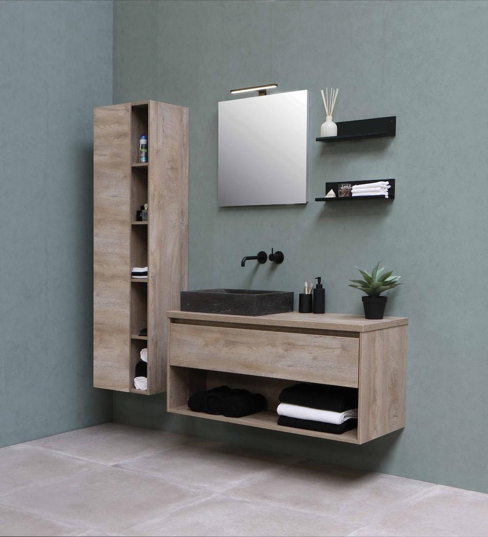 brown wooden wall mounted shelf