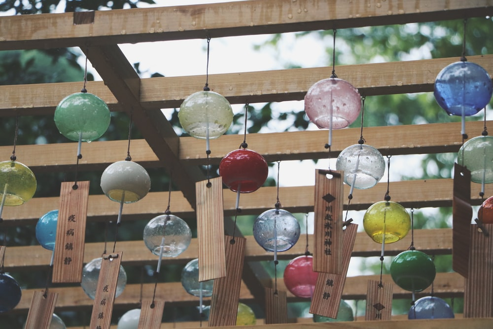 red green and yellow hanging decors