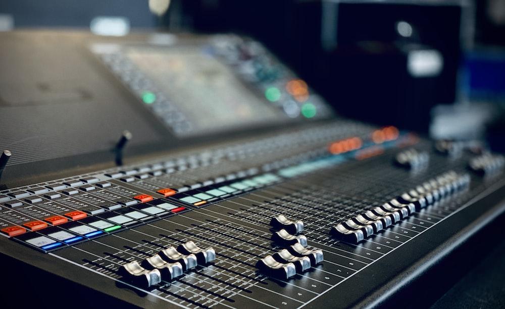 black and white audio mixer