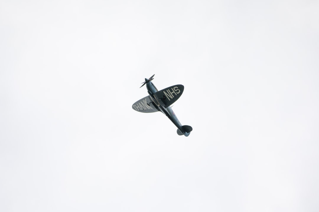 A spitfire over Rotherham in the UK.