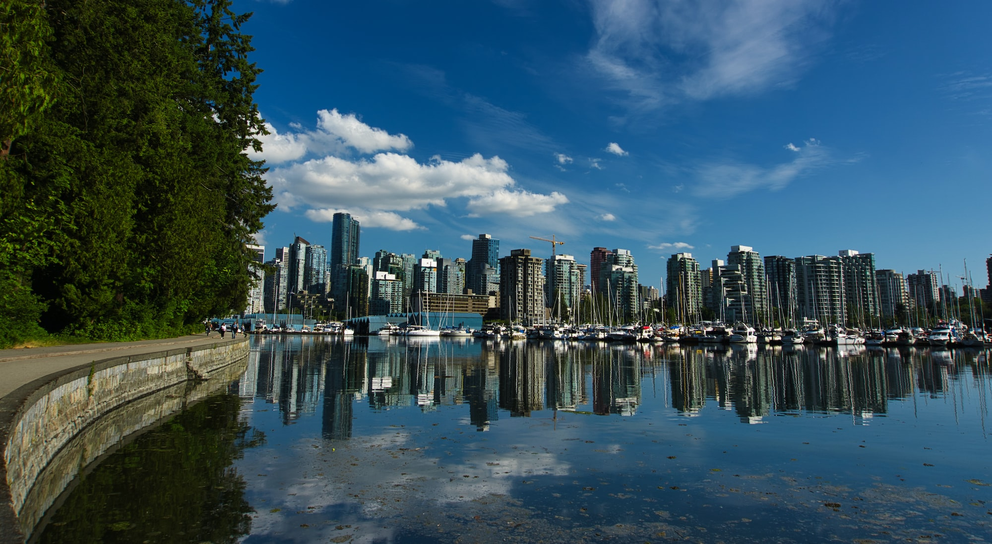 A view of some buildings from the Stanley Park Seawall