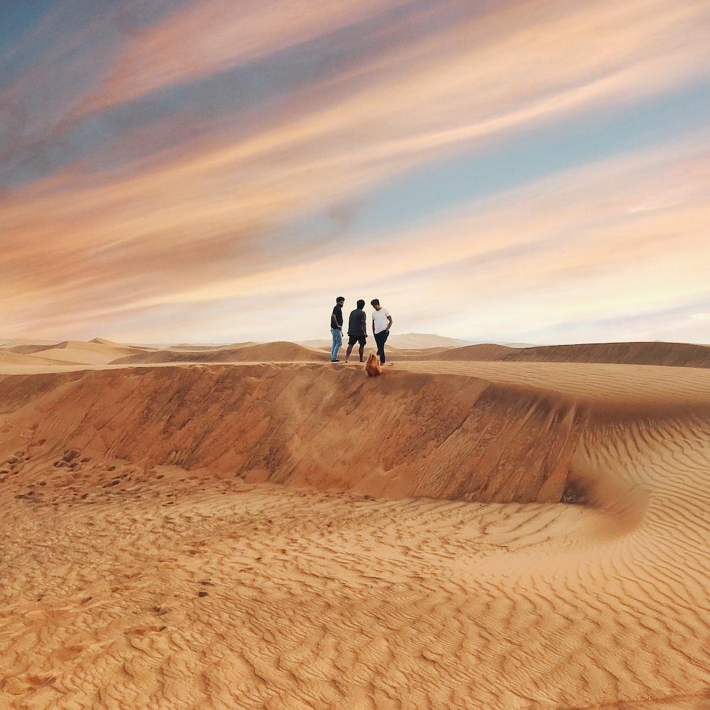 2 person walking on desert during daytime