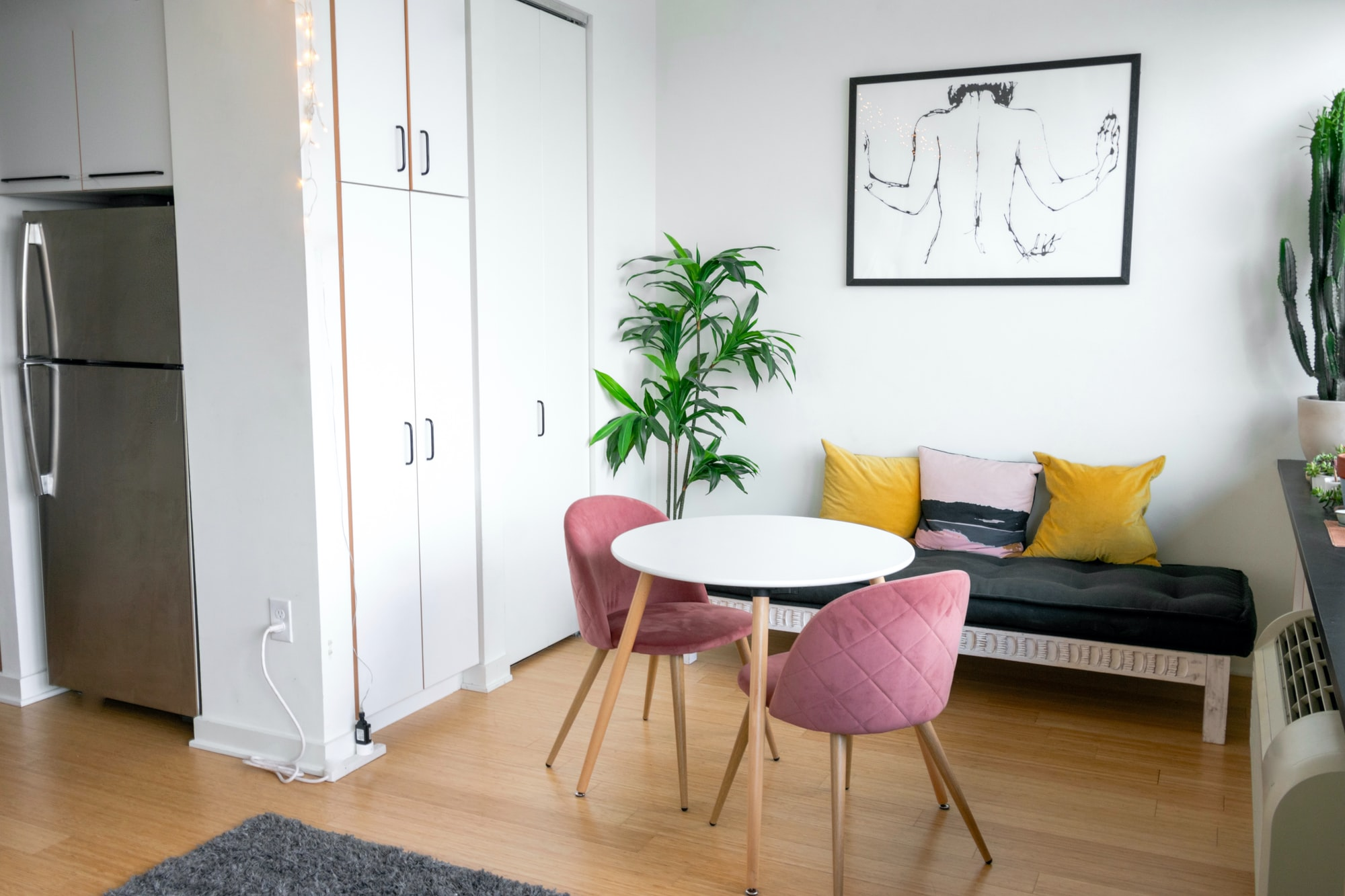Modern apartment living room interior.