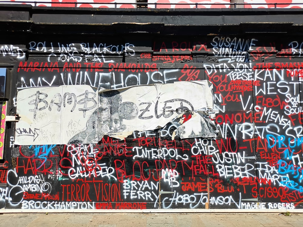 white red and black graffiti