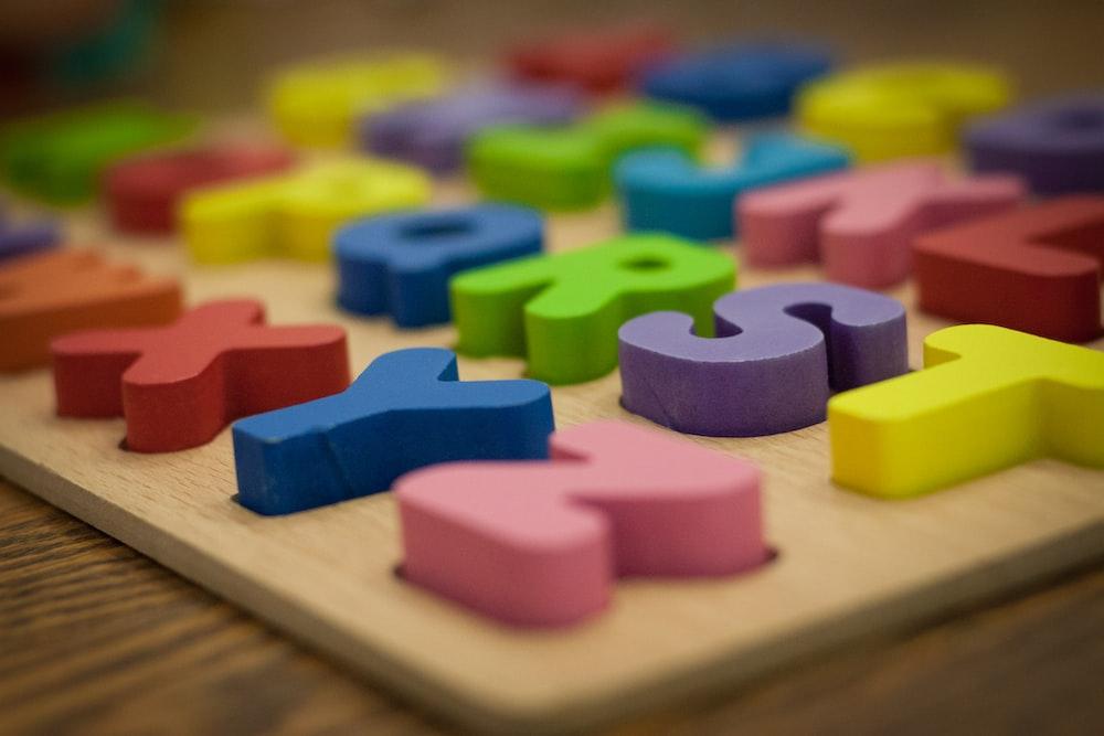 blue green and purple plastic blocks