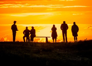 silhouette of people standing on grass field during sunset