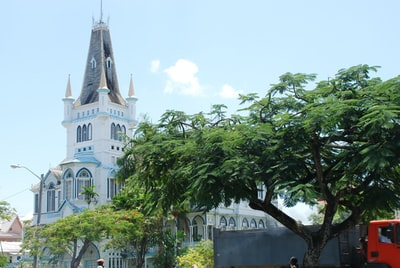 green trees near white concrete building during daytime guyana teams background