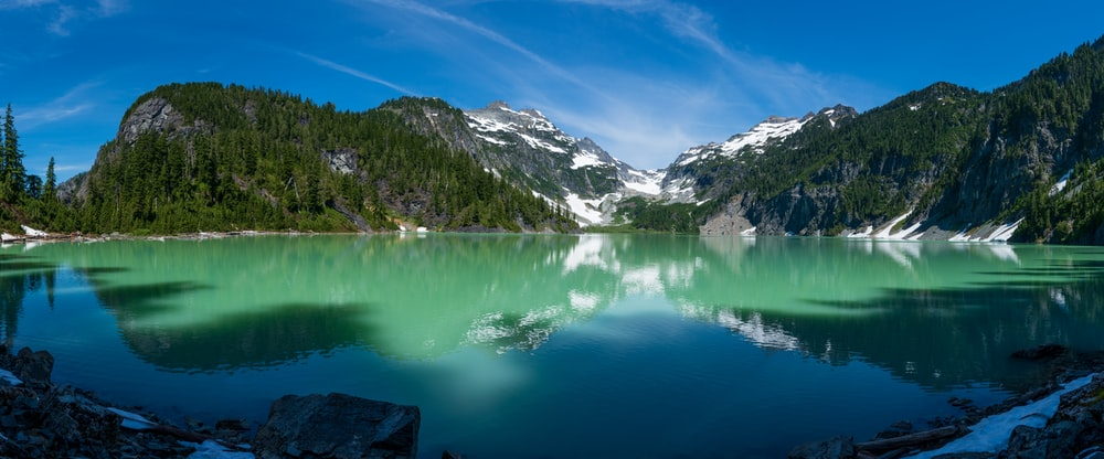 lake surrounded by green trees and snow covered mountains during daytime