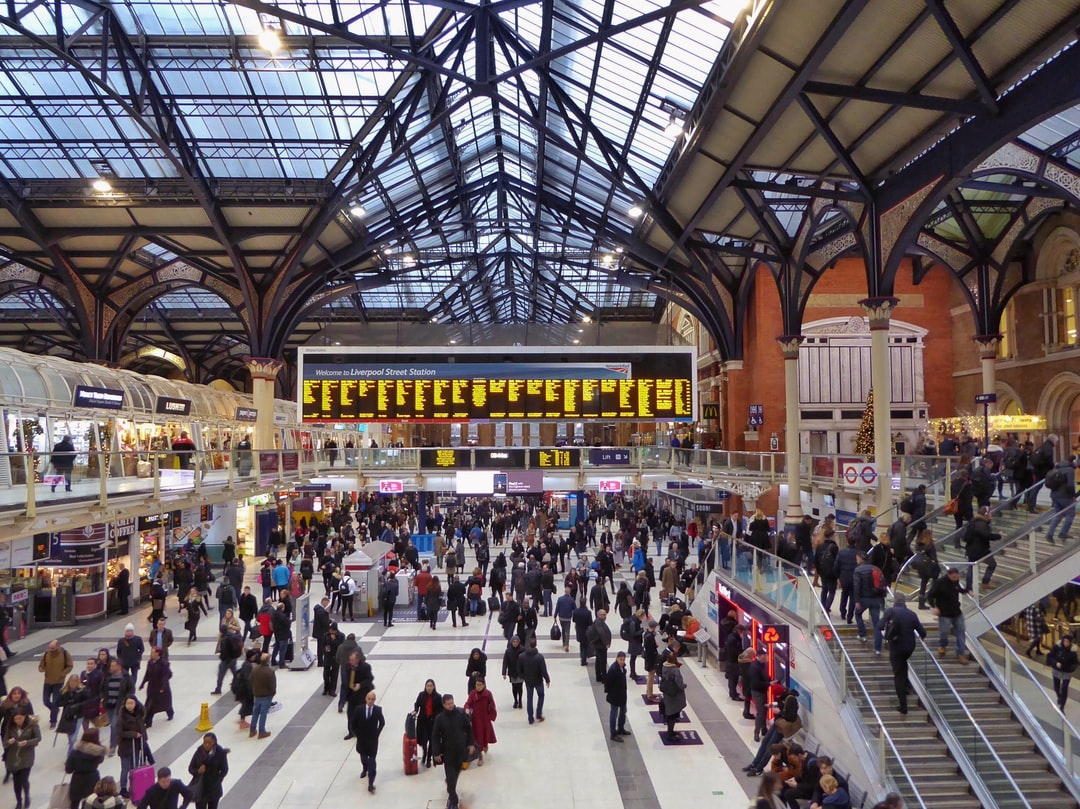 A busy Liverpool Street Station in London when life was busy and normal.  People going about their daily business without a care in the world.   Life as it once was.