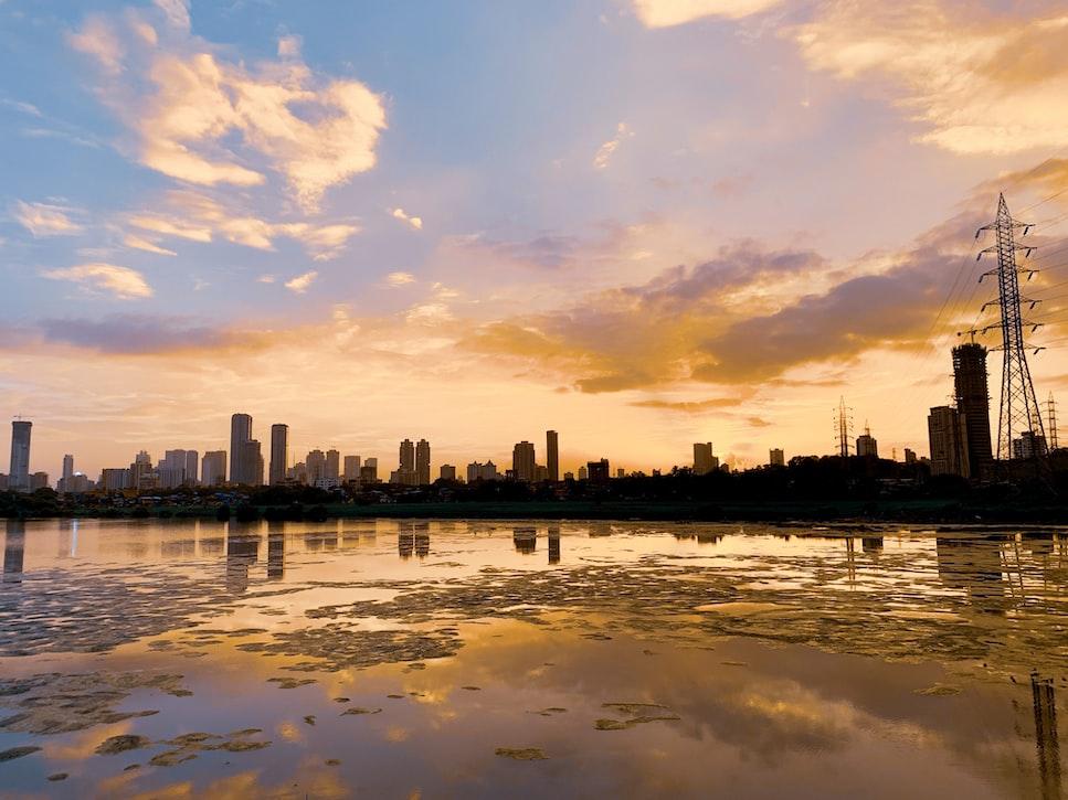 the mumbai city during sunset