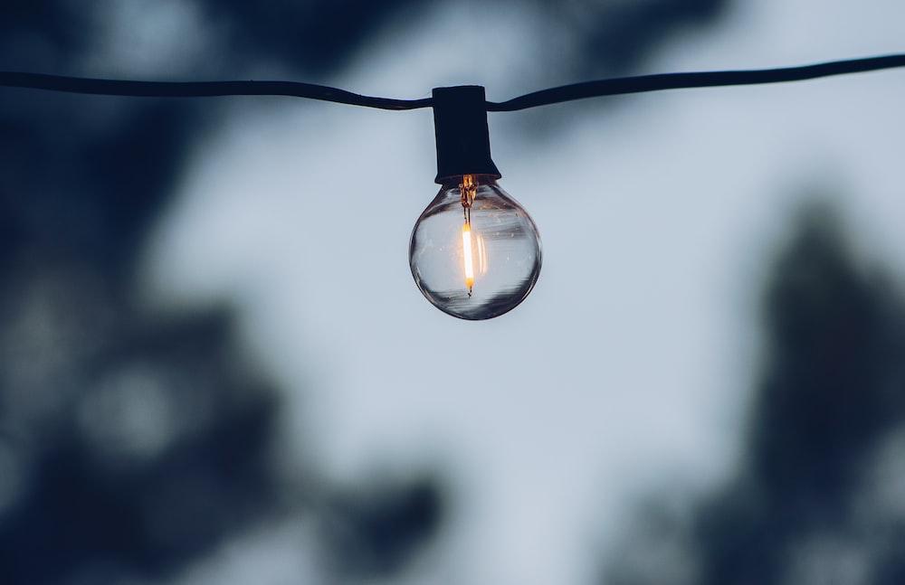 light bulb turned on in tilt shift lens