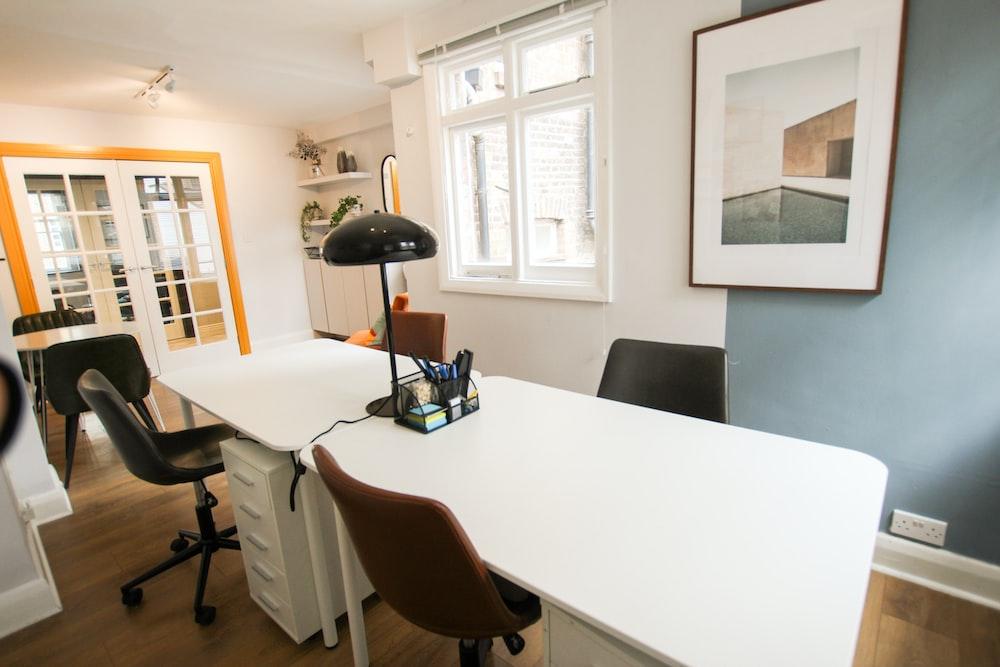 black desk lamp on white table
