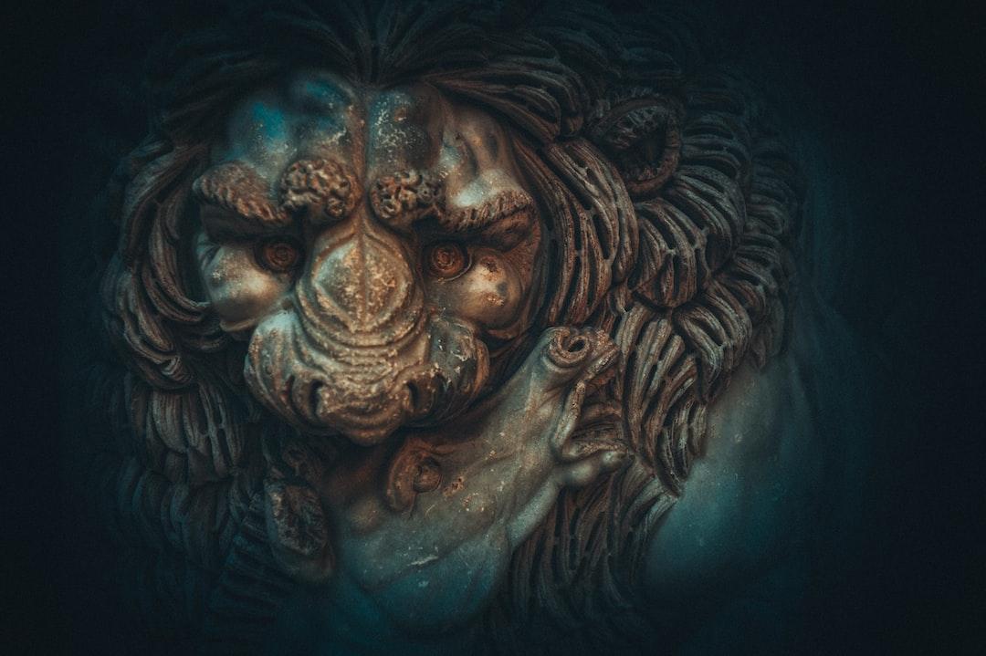 A lion killing a horse. The sculpture.
