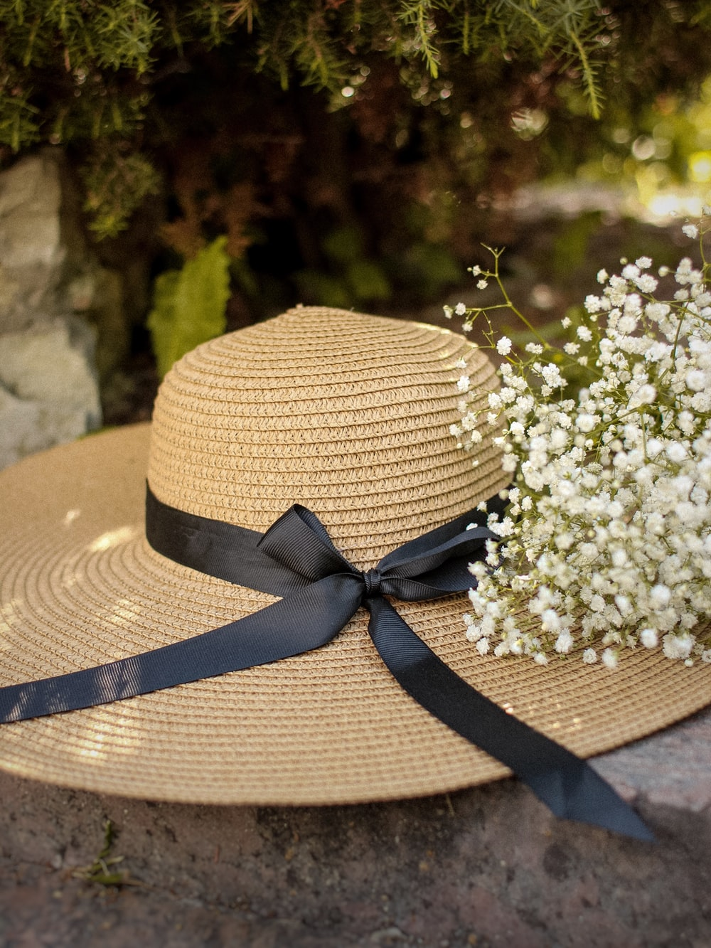 brown and beige straw hat