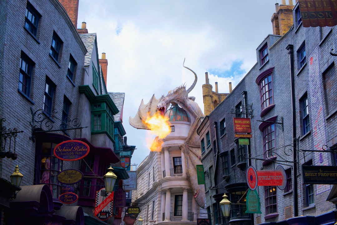 Fire breathing dragon atop Gringotts Wizarding Bank – The Wizarding World of Harry Potter, Diagon Alley