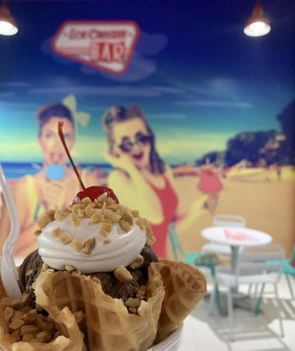 ice cream with cone on ice cream cone