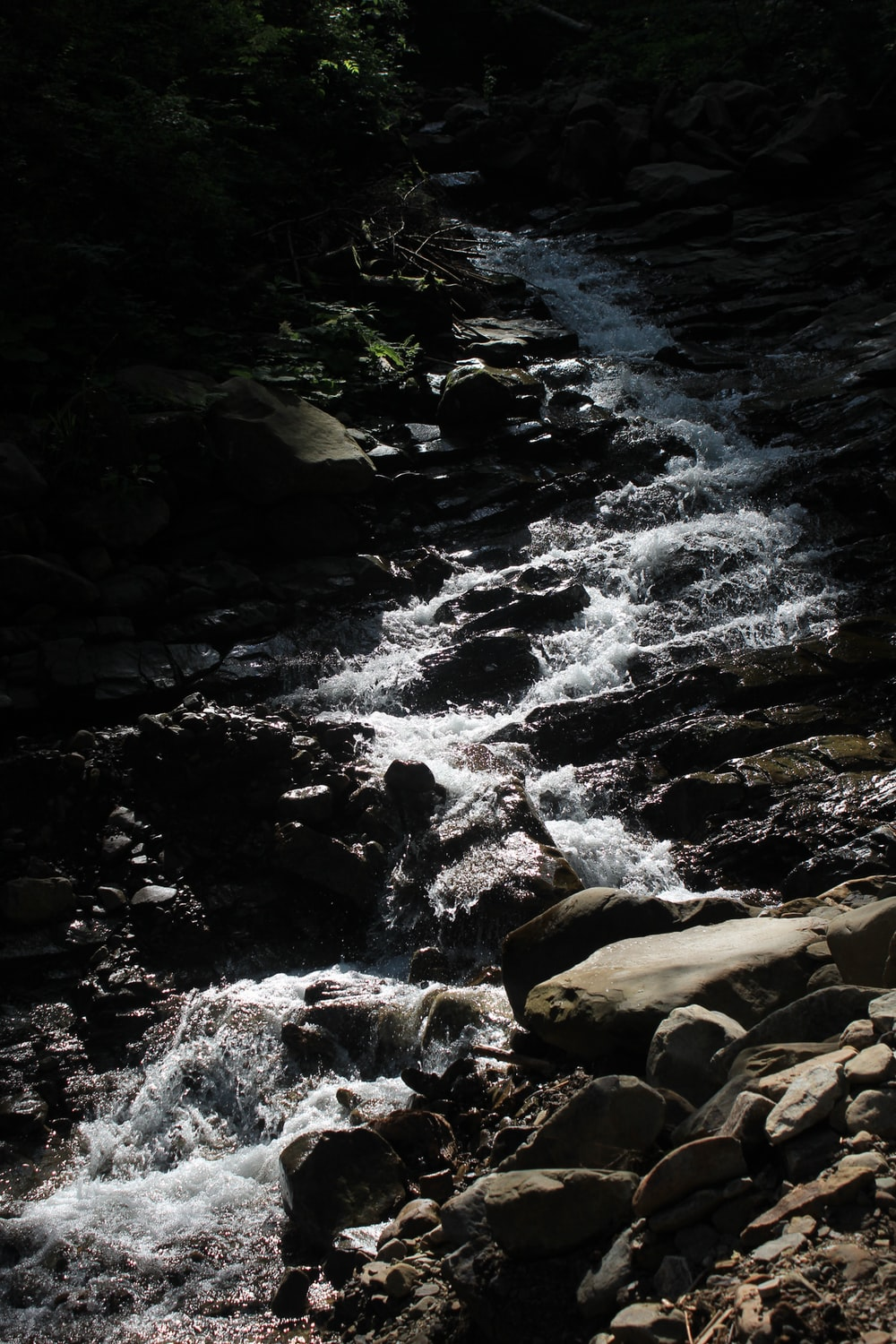 water flowing on rocky river