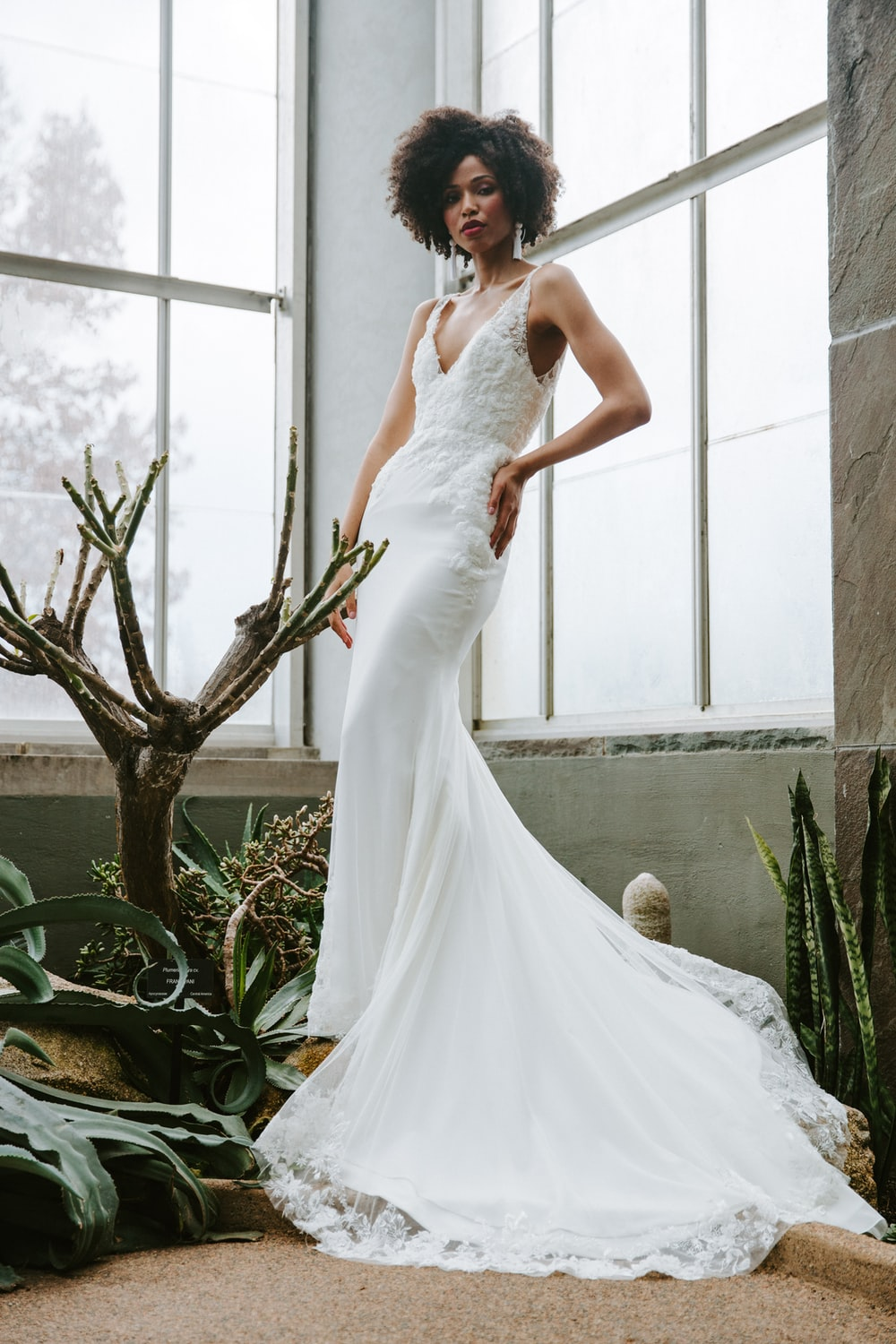 woman in white wedding dress standing beside green plant