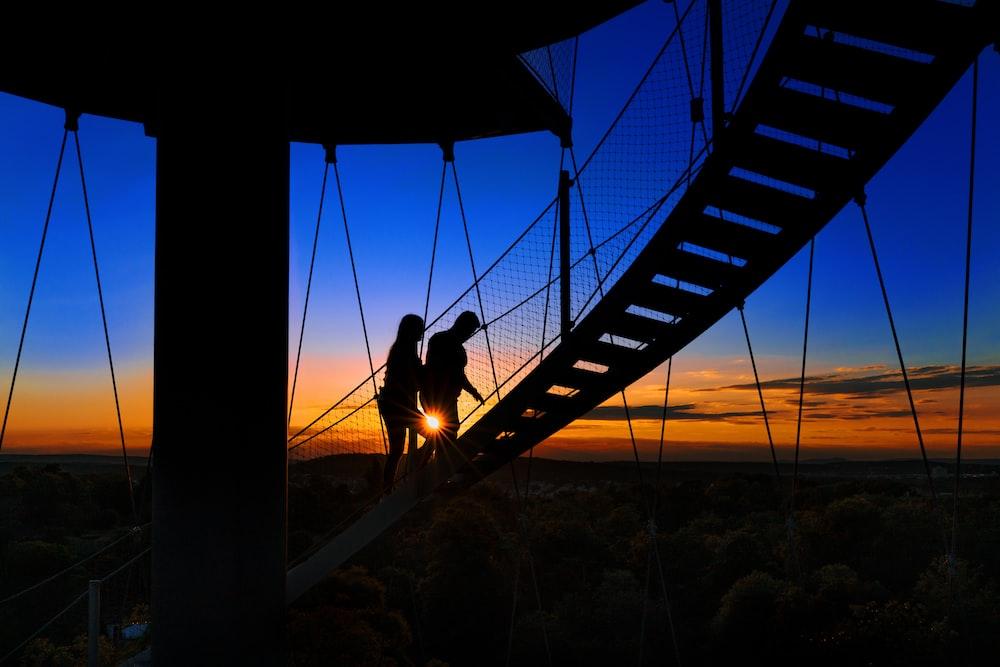 silhouette of dog on bridge during sunset