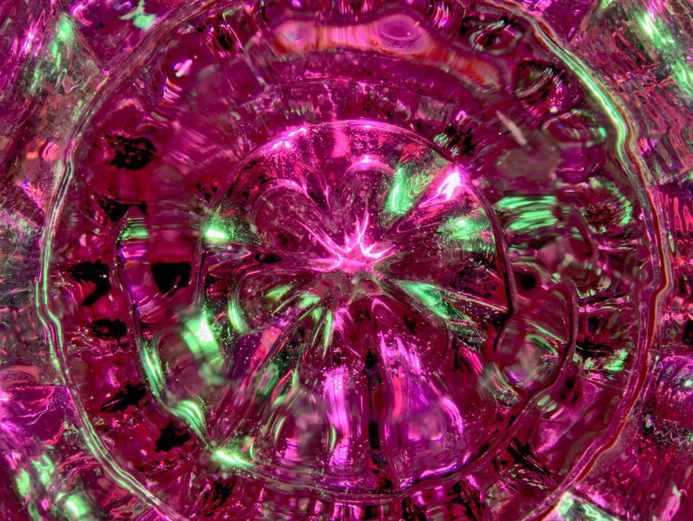purple and pink glass decor