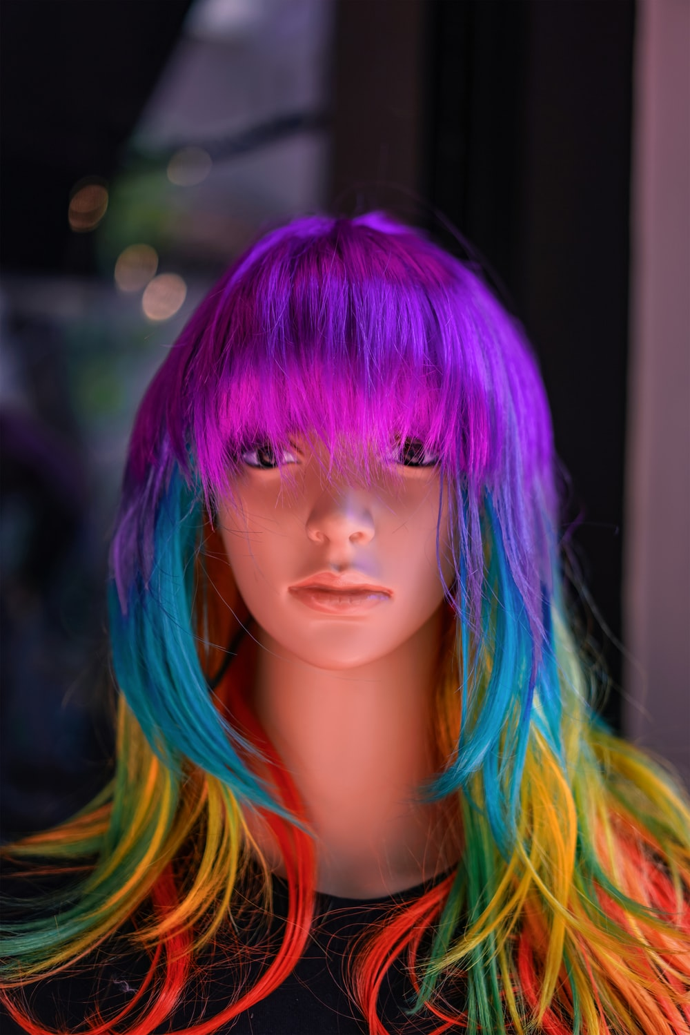 blue haired girl doll with blue hair
