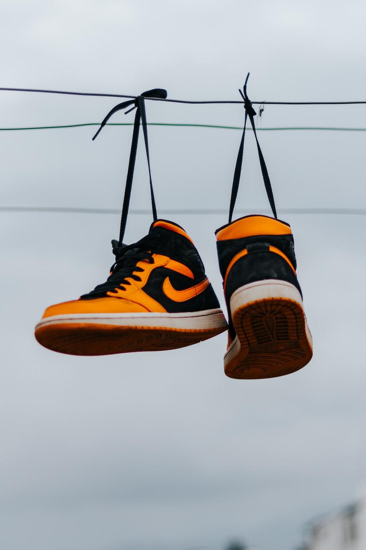 black and orange nike sneakers