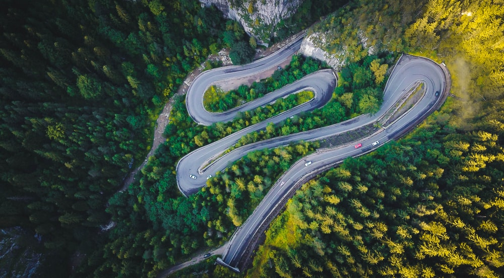 aerial view of road in the middle of forest