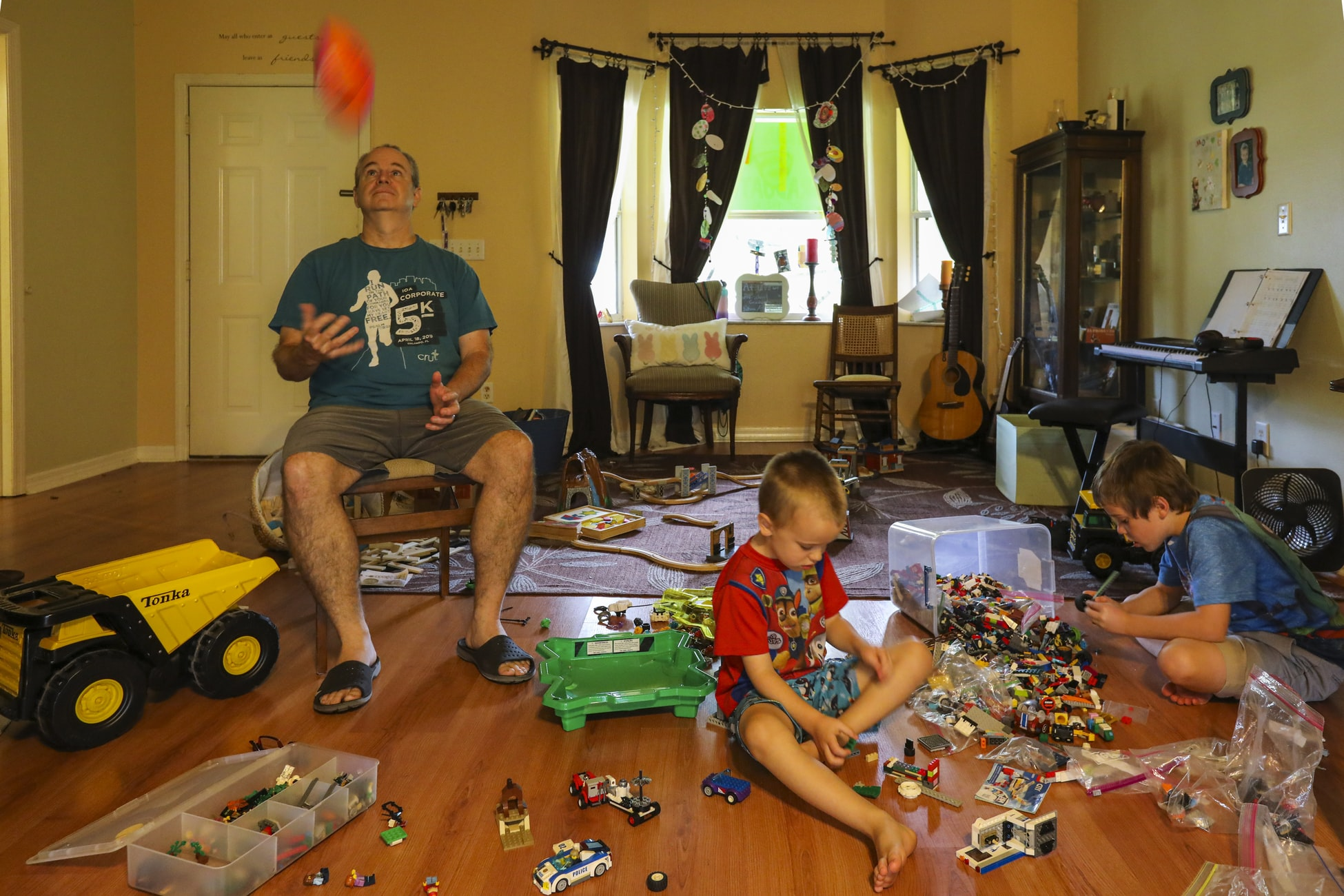 A Family Playing Let's Roam Indoor Scavenger Hunts