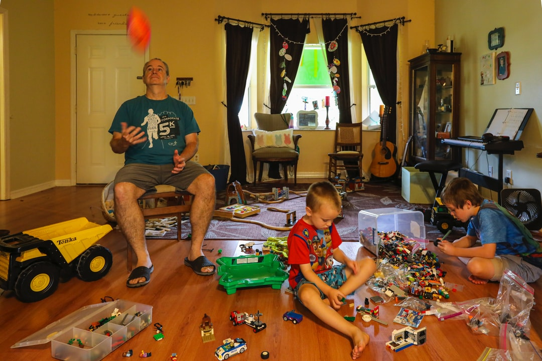 Oh, the typical day at home with toys everywhere and parents on the brink of insanity during stay at home orders.
