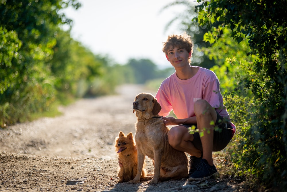man in pink crew neck t-shirt sitting beside brown short coated dog during daytime