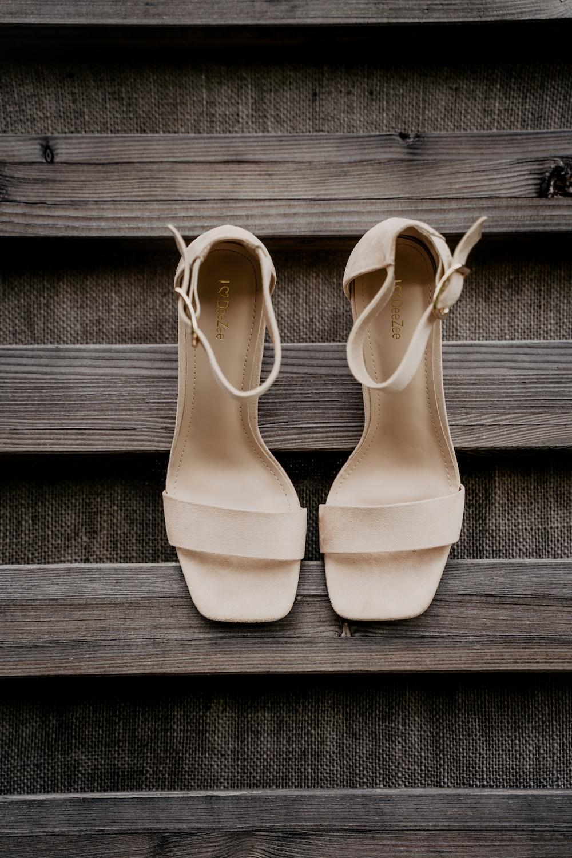white peep toe heeled shoes