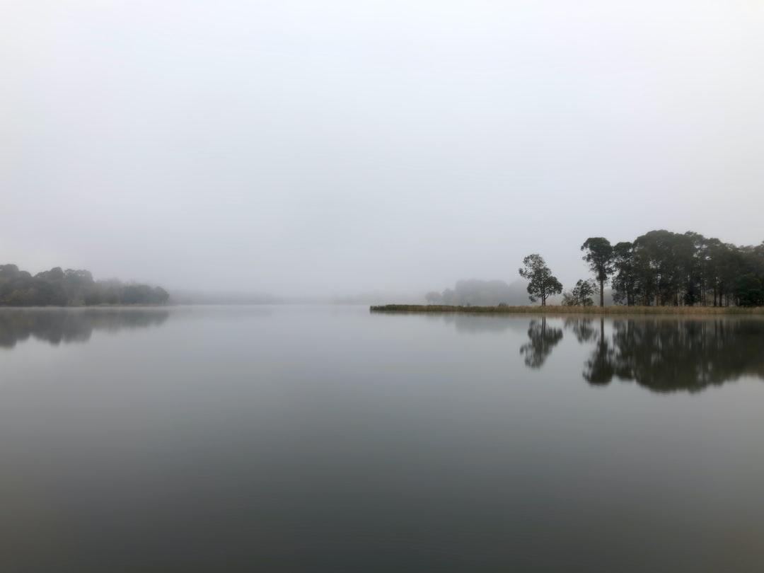 Flat featureless Lake Burley Griffin, Winter Morning 2020