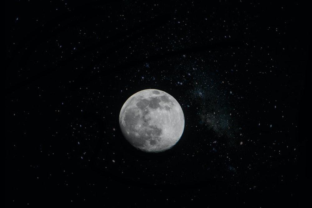 full moon on black surface